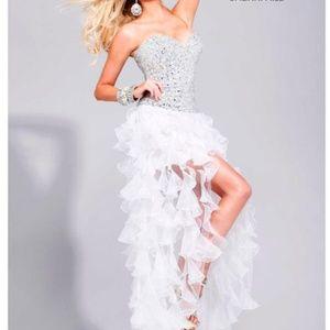 Sherri Hill strapless white dress with frills